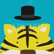 tiger with hat kids room decor