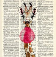 Giraffe with bubblegum print on dictionnary paper