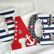 Nautical style letters made from wood