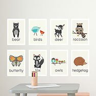Animals names wall art for nursery