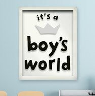 Its a Boys World Quote Wall Art