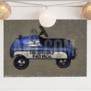 Vintage Blue Police Car Painting