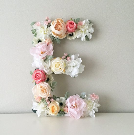 Floral letter wall art for boho chic nursery decor