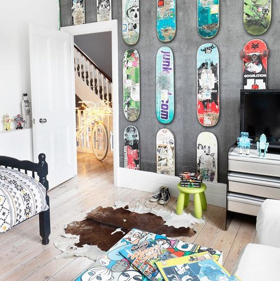 Skateboard wall boy room decor