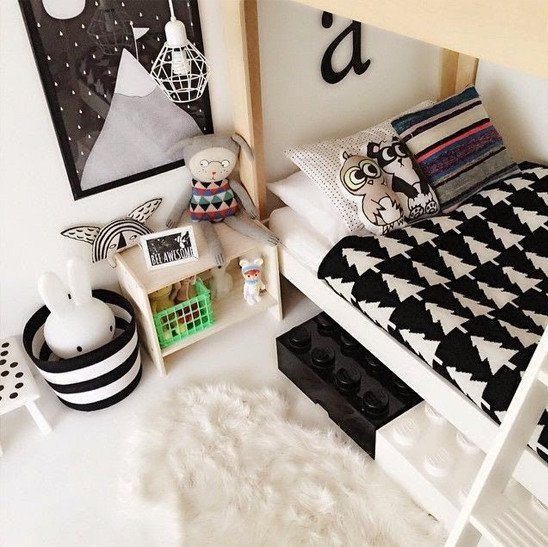 Black and white color decor with bunkbed in boys bedroom