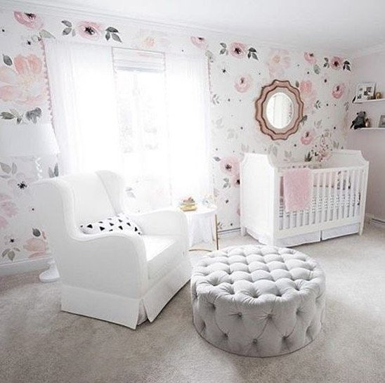 floral wallpaper angelic white girl nursery