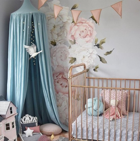 canopy garland floral wallpaper shiny baby crib