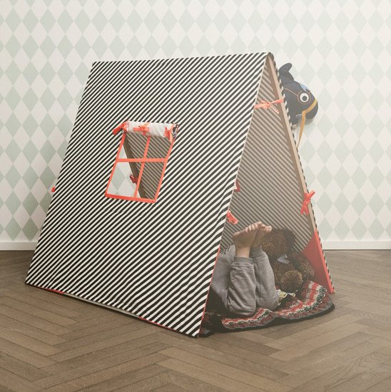 Boy play tent with window