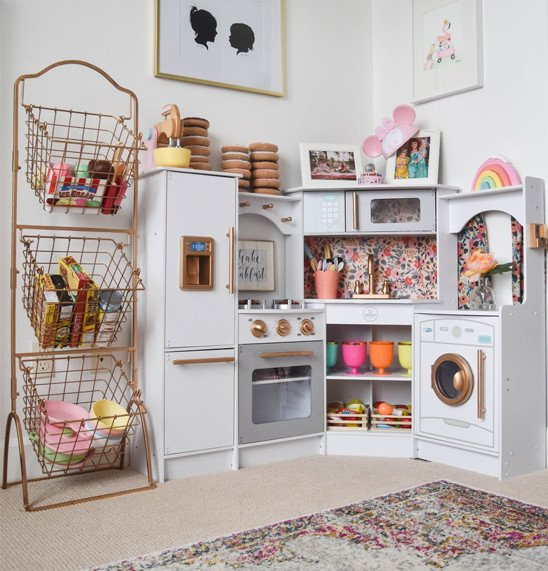 Playroom with play kitchen