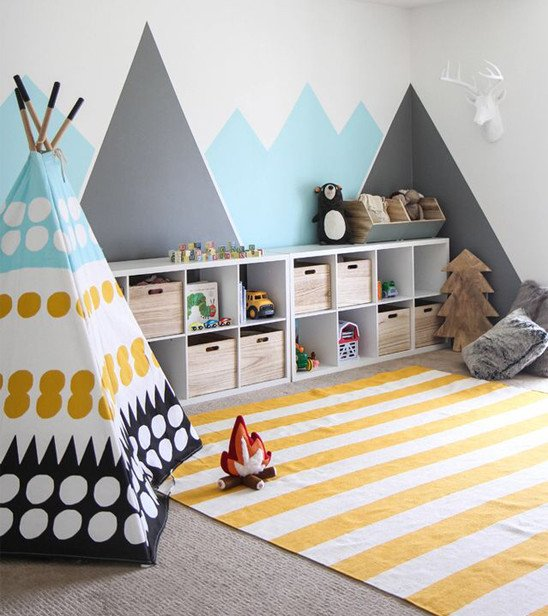Modern playroom with plenty of storage