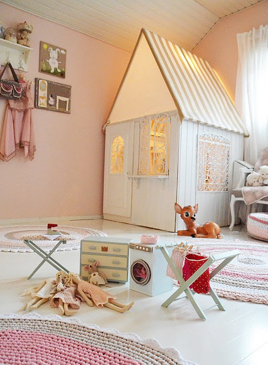 Playhouse in little girl playroom