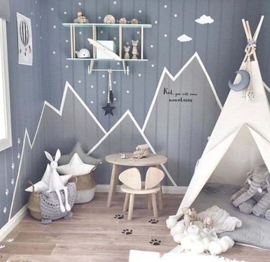Wall decals in playroom