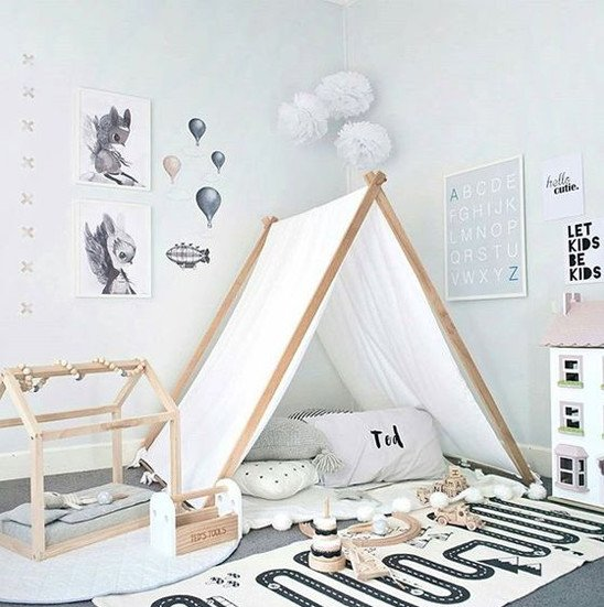 Modern decor playroom with tent