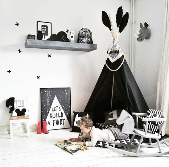Monochrome decor playroom