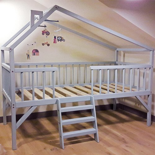 Low House Bunk Bed With Stairs
