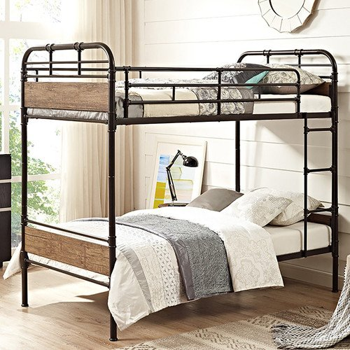 Metal And Wood Industrial Bunk Bed
