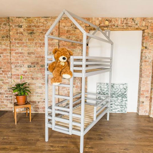Wooden Bunk House Beds With Side Ladder
