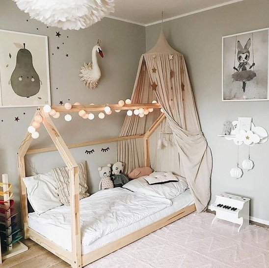 Lovely Transition Bed Canopy Magical Girl Room Decor