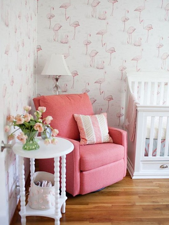 Marvelous Flamingo Wallpaper Pink Rocking Chair Girl Bedroom Decor