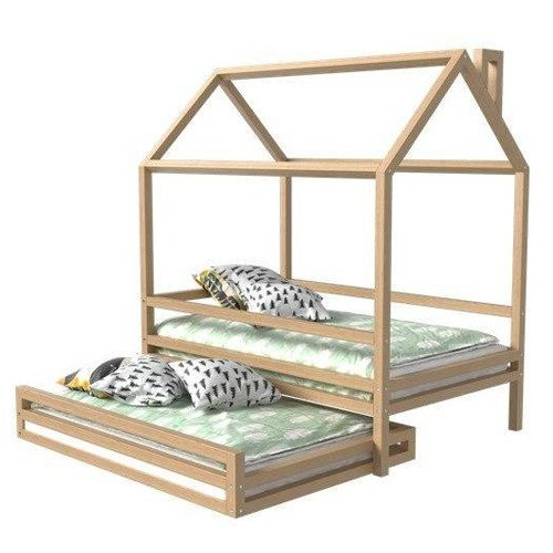 Toddler Montessori House Bed With An Extra Under